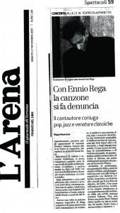 L'arena di Verona scrive ancora di Ennio Rega