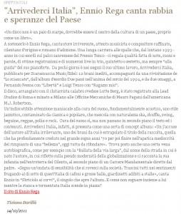 articolo di liberazione su Arrivederci Italia
